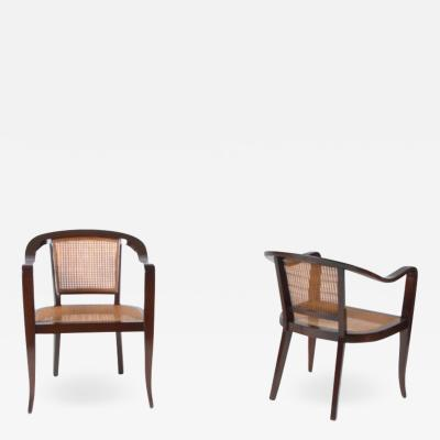 Edward Wormley Pair of Cane and Walnut Edward Wormley Style Chairs c 1950s