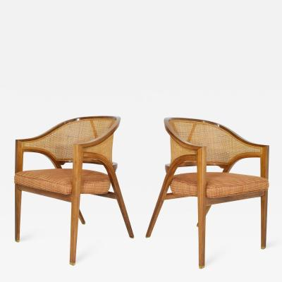 Edward Wormley Pair of Dunbar Cane Back Lounge Chairs by Edward Wormley