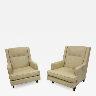 Edward Wormley Pair of Dunbar High Back Mr Lounge Chairs by Edward Wormley
