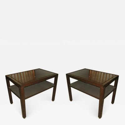 Edward Wormley Pair of Dunbar Mahogany and Brass Two Tier End Tables