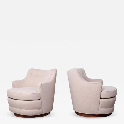 Edward Wormley Pair of Dunbar Swivel Chairs by Edward Wormley