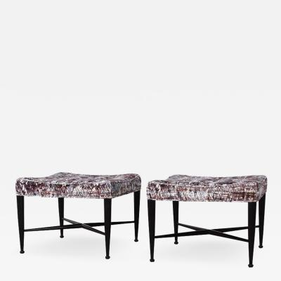 Edward Wormley Pair of Dunbar Thebes Stools by Edward Wormley