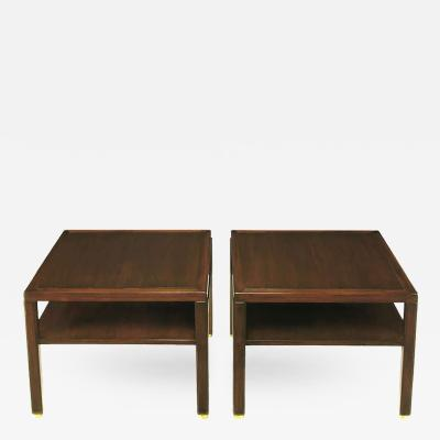 Edward Wormley Pair of Edward Wormley Mahogany End Tables with Brass Feet