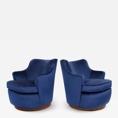 Edward Wormley Pair of Edward Wormley Swivel Chairs for Dunbar in Blue Velvet