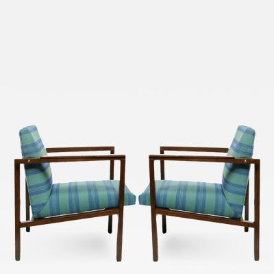 Edward Wormley Pair of Edward Wormley Walnut Open Arm Lounge Chairs