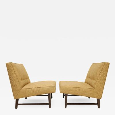 Edward Wormley Pair of Edward Wormley for Dunbar Slipper Chairs in Gold Color Upholstery