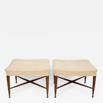Edward Wormley Pair of Edward Wormley for Dunbar Walnut Thebes Ottomans