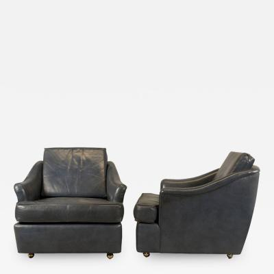 Edward Wormley Pair of Leather Club Chairs for Dunbar