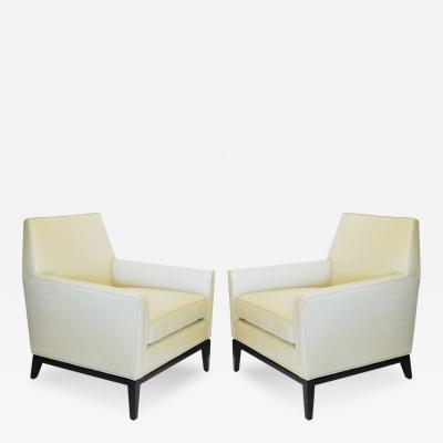 Edward Wormley Pair of Lounge Chairs by Edward Wormley for Dunbar in Vanilla Leather