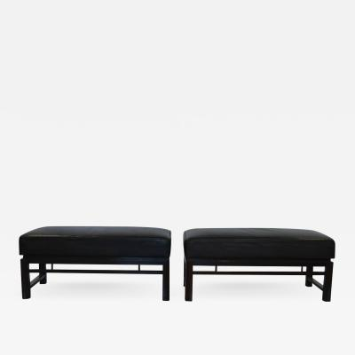 Edward Wormley Pair of Rectangular Leather Benches Edward Wormley for Dunbar 1940s