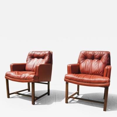 Edward Wormley Pair of Red Leather Armchairs by Edward Wormley for Dunbar