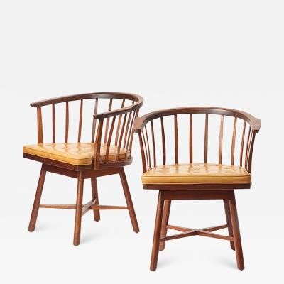 Edward Wormley Pair of Swiveling Barrel Back Chairs