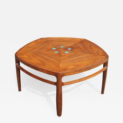 Edward Wormley Pentagonal Janus Coffee Table with Natzler Tiles by Edward Wormley for Dunbar