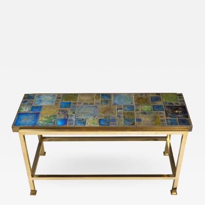 Edward Wormley Petite Table with Tiffany Glass Mosaic Top