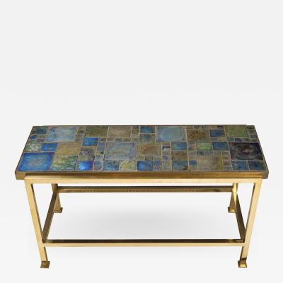 Edward Wormley Petite table with Tiffany glass mosaic top by Ed Wormley for Dunbar