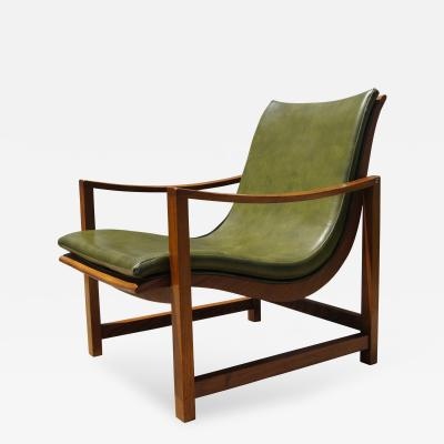 Edward Wormley Rare Leather Embossed Lounge Chair by Edward Wormley for Dunbar