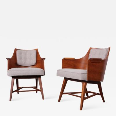 Edward Wormley Rare Pair of Lounge Chairs by Edward Wormley for Dunbar