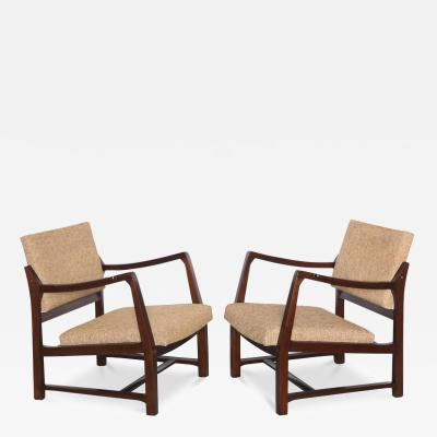 Edward Wormley Rare Pair of Open Arm Chairs by Edward Wormley for Dunbar