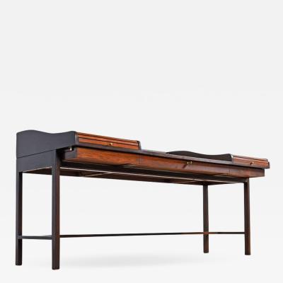 Edward Wormley Restored Edward Wormley for Dunbar Executive Rosewood Roll Top Desk 1960s