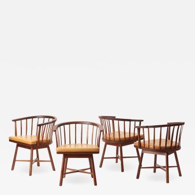 Edward Wormley Set of Four Swiveling Barrel Back Chairs