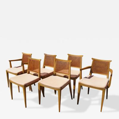 Edward Wormley Set of Six Cane Dining Chairs by Edward Wormley for Dunbar