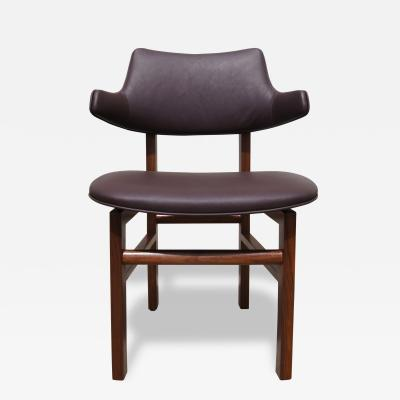 Edward Wormley Set of Six Leather and Walnut Dining Chairs by Edward Wormley for Dunbar