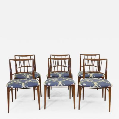 Edward Wormley Set of Six Walnut Dining Chairs by Edward Wormley for Dunbar