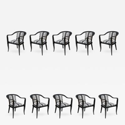 Edward Wormley Set of Ten Ebonized Armchairs Dunbar