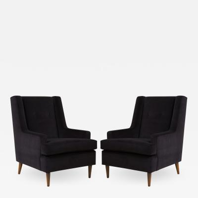 Edward Wormley Tall Man Lounge Chairs in Bistre Mohair Pair