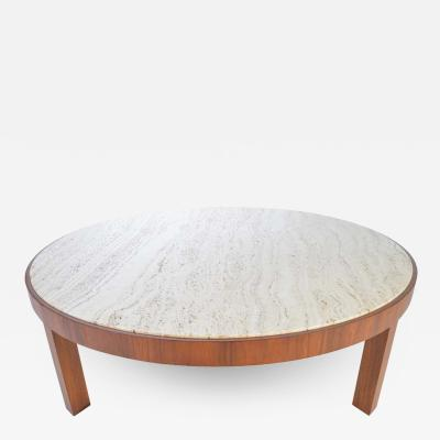 Edward Wormley Travertine and Walnut Cocktail Table Attributed to Edward Wormley for Dunbar