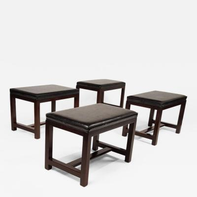 Edward Wormley Two Pairs of Solid Mahogany Stools by Edward Wormley for Dunbar