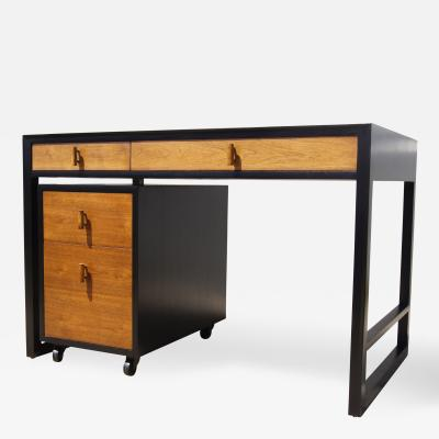 Edward Wormley Two Tone Desk with Rolling File Cabinet by Edward Wormley for Dunbar