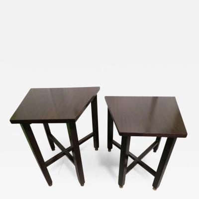 Edward Wormley Wonderful Pair of Trapezoidal Walnut Side Table with Brass Sabots by Dunbar