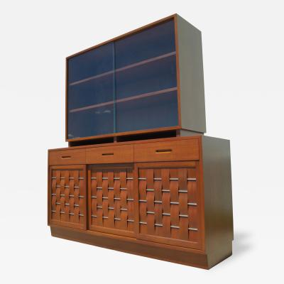 Edward Wormley Woven Front Mahogany Sideboard with Hutch by Edward Wormley for Dunbar