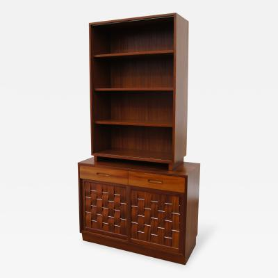 Edward Wormley Woven Front Two Piece Cabinet by Edward Wormley for Dunbar