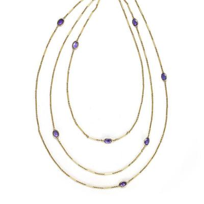 Edwardian Amethyst Gold Long Chain