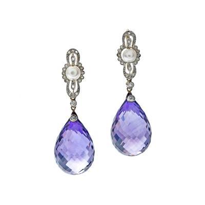 Edwardian Briolette Amethyst Pearl Diamond Earrings