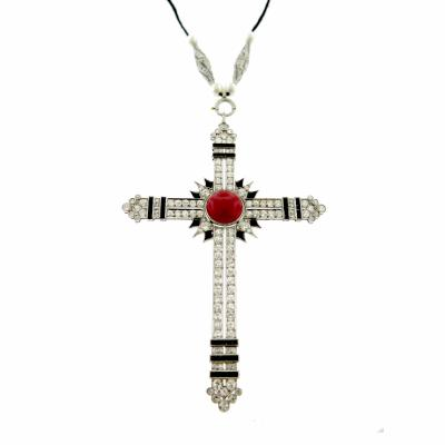 Edwardian Deco Coral Diamond Platinum Cross Necklace