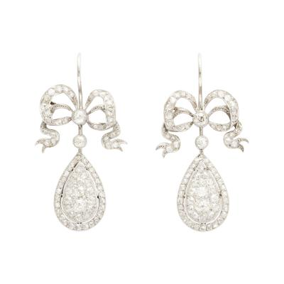 Edwardian Diamond Earrings in Platinum