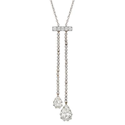 Edwardian Diamond Lavalier Necklace