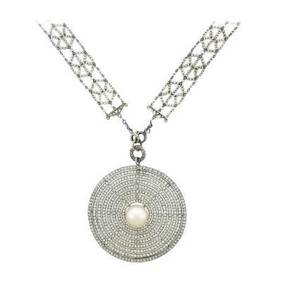 Edwardian Diamond Pearl Necklace