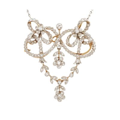 Edwardian Diamond Pendant Brooch