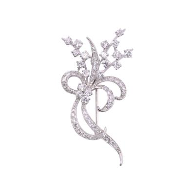 Edwardian Diamond Platinum Floral Brooch