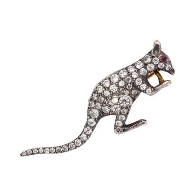 Edwardian Diamond Rock Wallaby Brooch