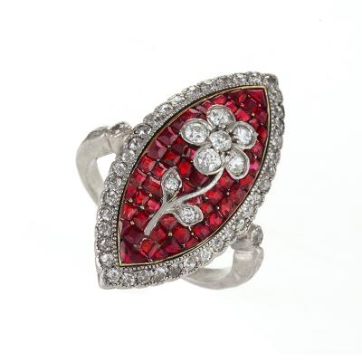 Edwardian Diamond Ruby Platinum and Gold Navette Ring