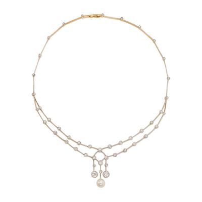 Edwardian Diamond and Pearl Knife Edge Necklace Wearable in Two Lengths