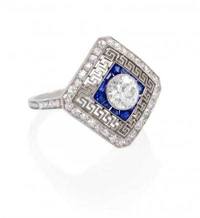 Edwardian Diamond and Sapphire Ring with Filigree Greek Key Design