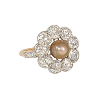 Edwardian Grey Pearl and Old Mine Cut Diamond Cluster Ring