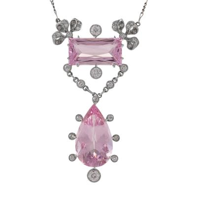 Edwardian Morganite Diamond and Platinum Lavaliere Necklace