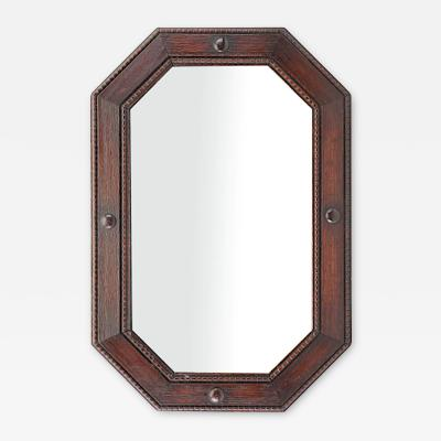 Edwardian Oak Octagonal Mirror c 1900